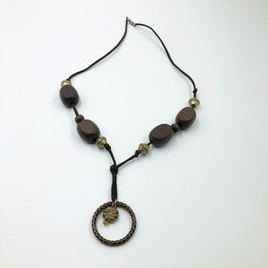 Jewelry - Womens Rope Wooden Beaded Necklace